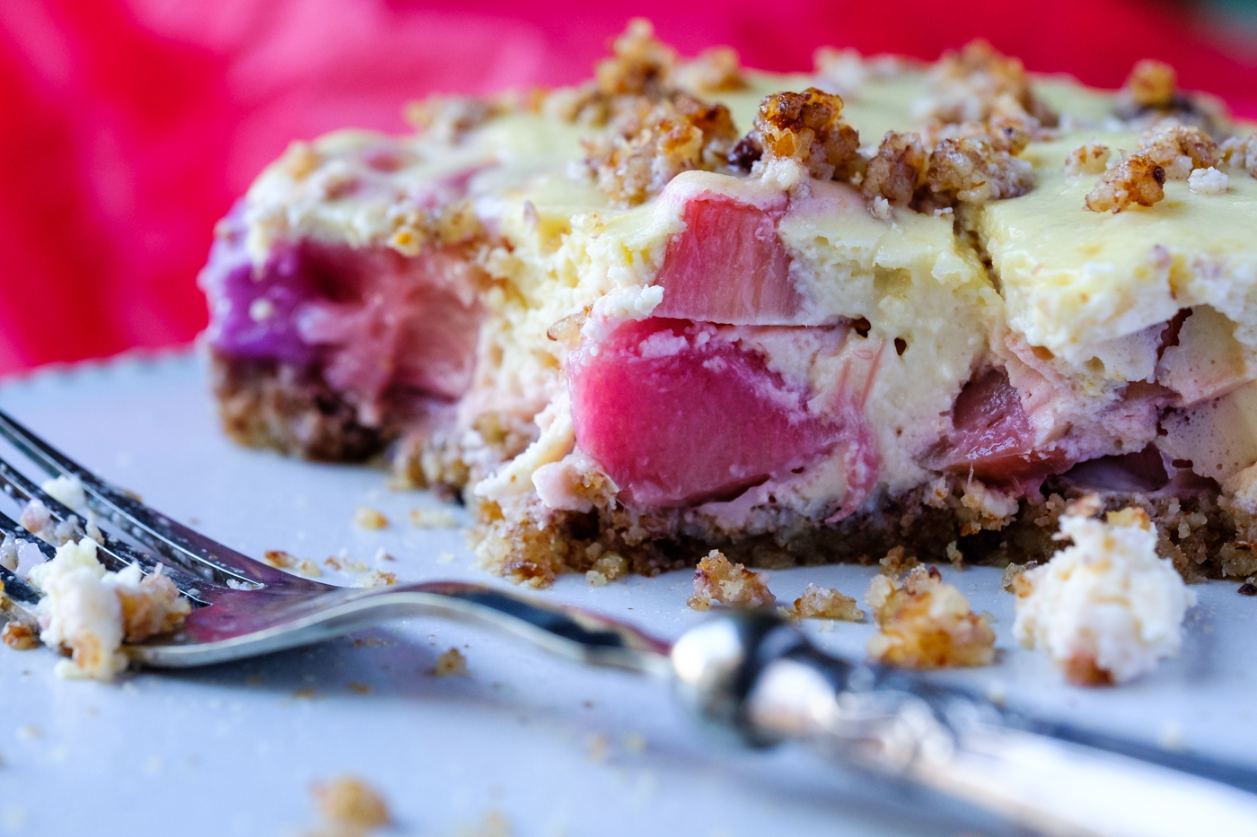 Rhubarb and Almond Cheese Tart with Pecan Crumble